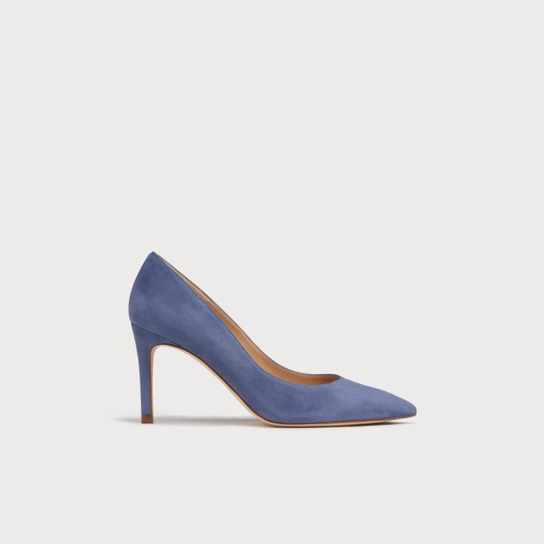 LK Bennett floret blue Suede Pointed Court Shoes