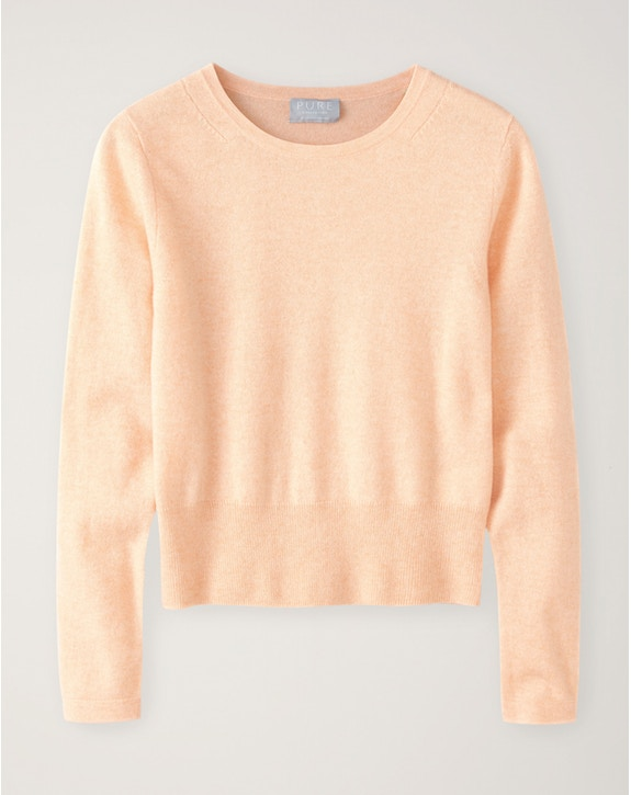 Pure Collection Cashmere Cropped Sweater Heather Peach
