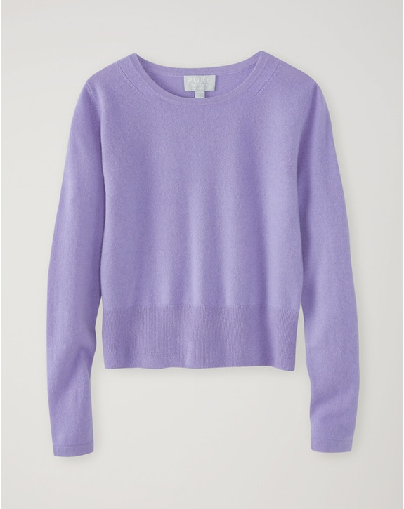 Pure Collection Cashmere Cropped Sweater Soft Lilac