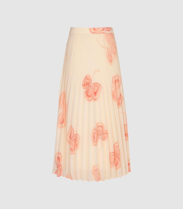 Reiss Aya Peaches and Cream Pleated Midi Skirt v2