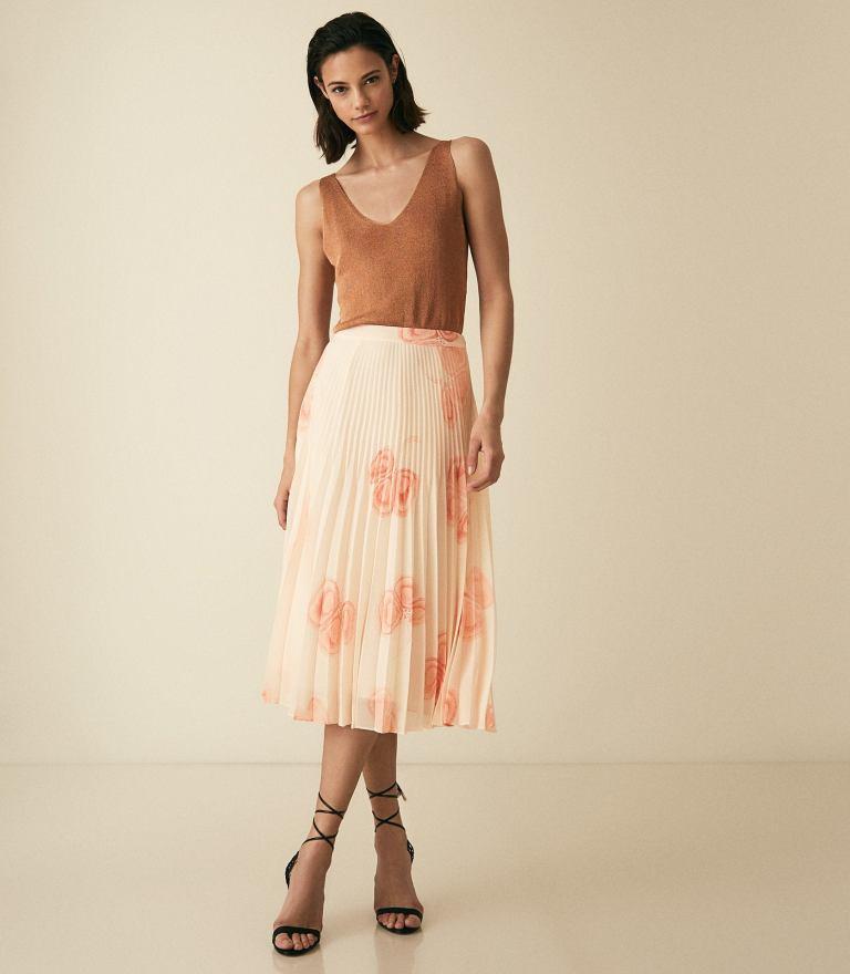Reiss Aya Peaches and Cream Pleated Midi Skirt