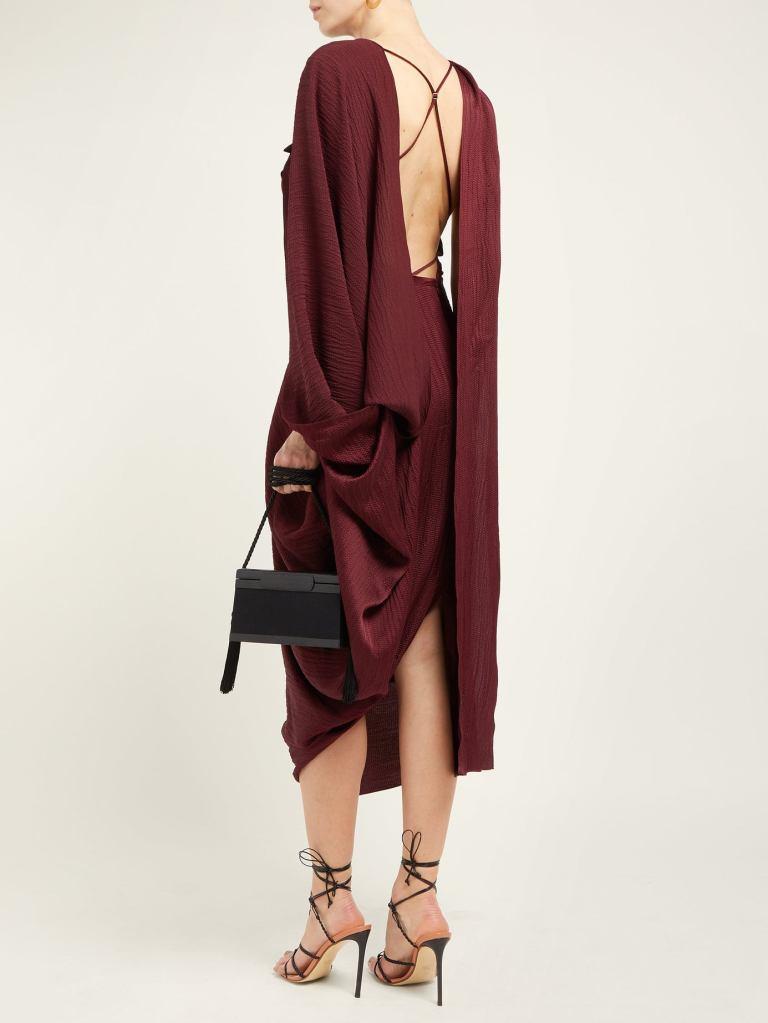 Roland Mouret - Lillico Cape Hammered Silk Midi Dress back view
