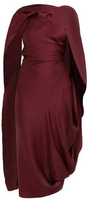 Roland Mouret - Lillico Cape Hammered Silk Midi Dress
