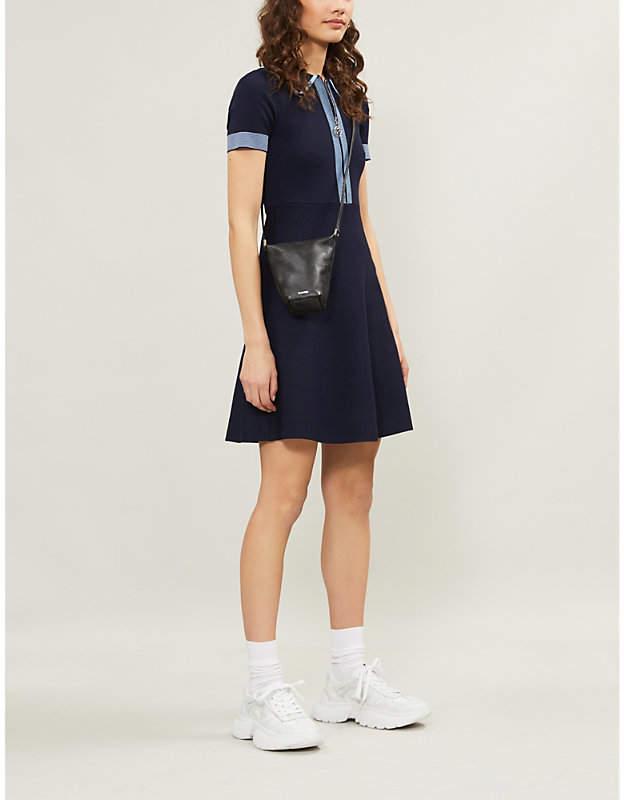 Sandro Ladies Navy Blue Striped Striped-Trim Knitted Mini Dress