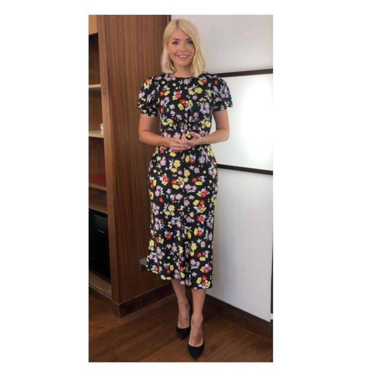 where to find Holly Willoughby This Morning outfit today black bright floral midi dress black suede court shoes June 2019 photo Holly Willoughby