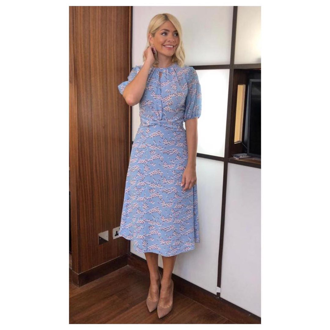 where to find Holly Willoughby This Morning outfit today blue Ditzy Blossom dress nude suede court shoes June 201 Photo Holly Willoughby