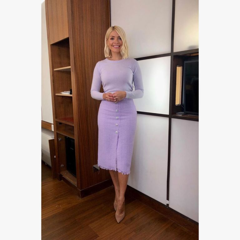 Where to find holly willoughby This morning outfit today lilac tweed skirt with rhinestone buttons lilac knit nuded suede court shoes June 2019 Photo Holly Willoughby