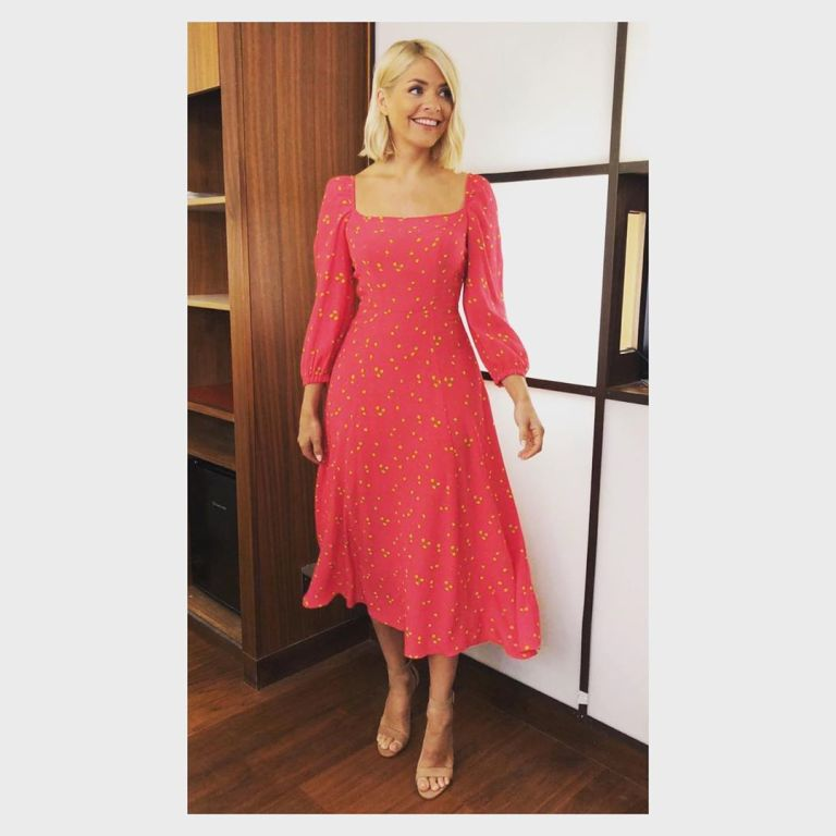 where to find Holly willoughby This Morning outfit today pink and yellow lemon dress nuded suede sandals June 2019 Photo Holly Willoughby