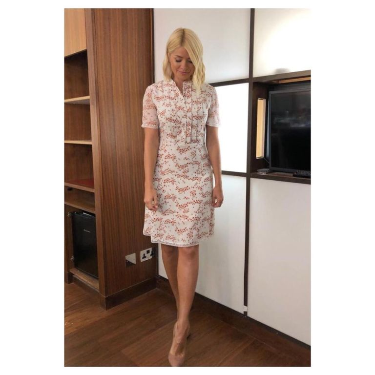 Where to find holly Willoughby This Morning outfit today white blossom print dress nude court shoes June 2019 Photo Holly Willoughby.jpg