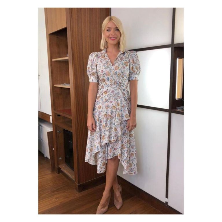 Where to find Holly Willoughby This Morning outfit today white multi Liberty print wrap dress nude court shoes June 2019 Photo Holly Willoughby