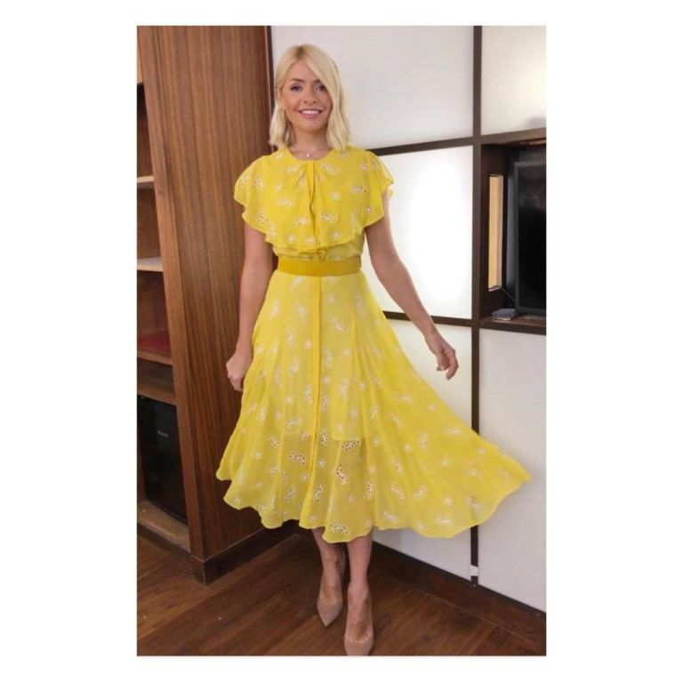 Where to find Holly Willoughby This Morning outfit today yellow broderie dress nude court shoes June 2019 Photo Holly Willoughby
