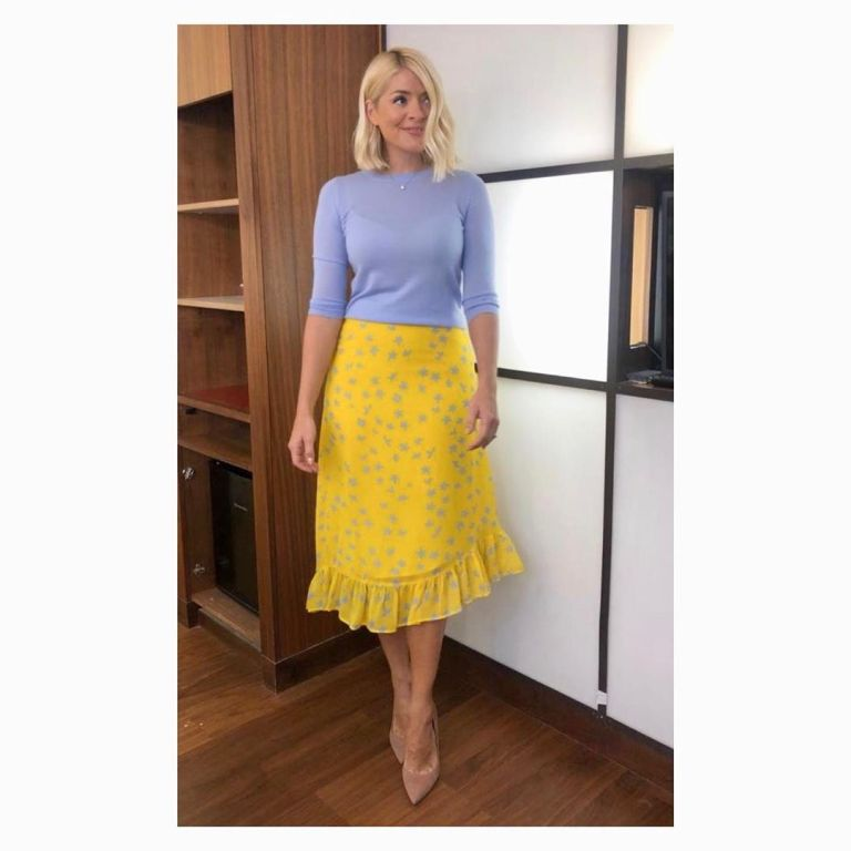 Where to find Holly Willoughby This morning outfit today yellow ruffle floral skirt lilac knit nude suede court shoes June 2019 photo Holly Willoughby