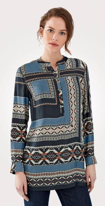 Artigiano tunic in on-trend pattern mix