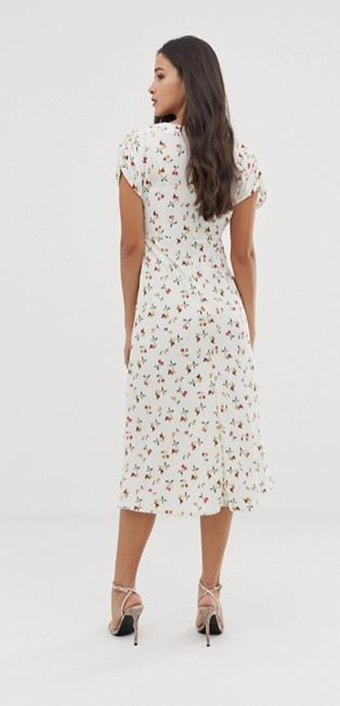 ASOS DESIGN midi tea dress in cherry print back view