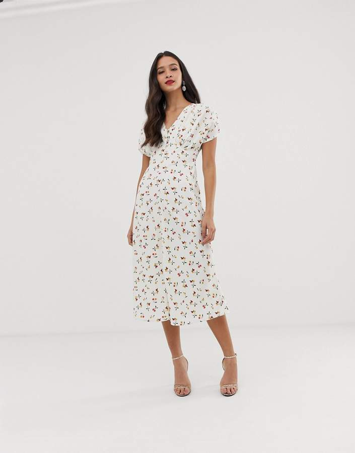 ASOS DESIGN midi tea dress in cherry print
