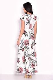 AX Paris Cream Floral Maxi Wrap Dress back view