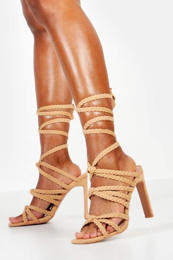BooHoo Plait & Knot Front Wrap Heel Sandals