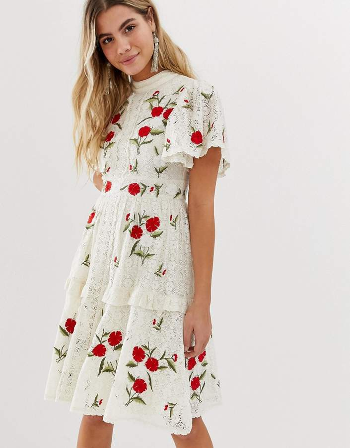 Frock And Frill prairie embroidered midi dress