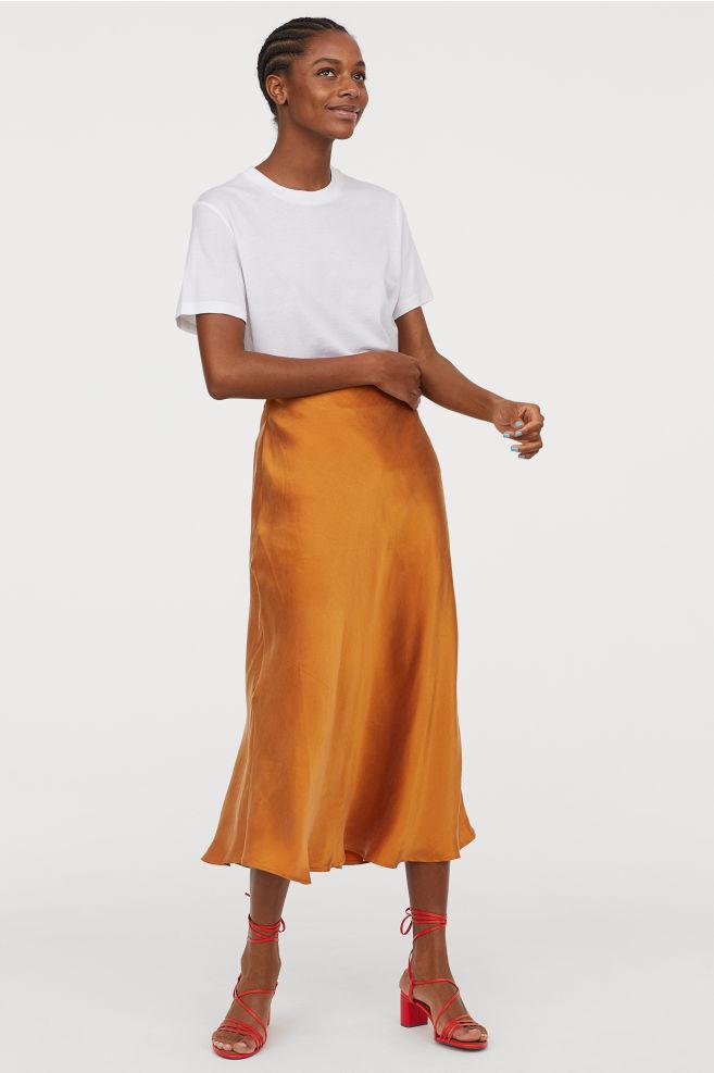H&M Calf-length silk skirt