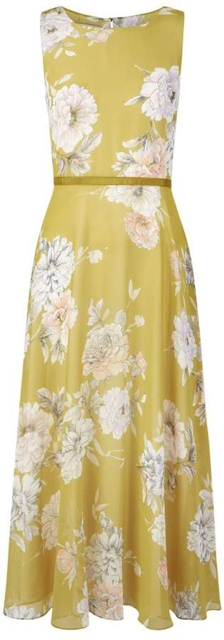 Hobbs Carly Floral Print Ribbon Midi Dress v2