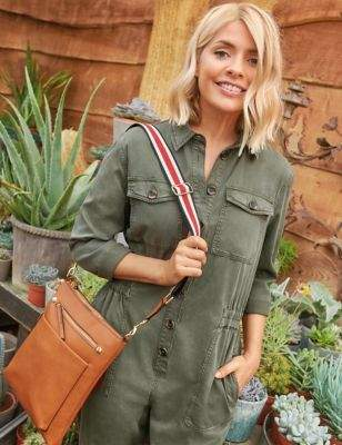 holly willougby Khaki utility jumpsuit