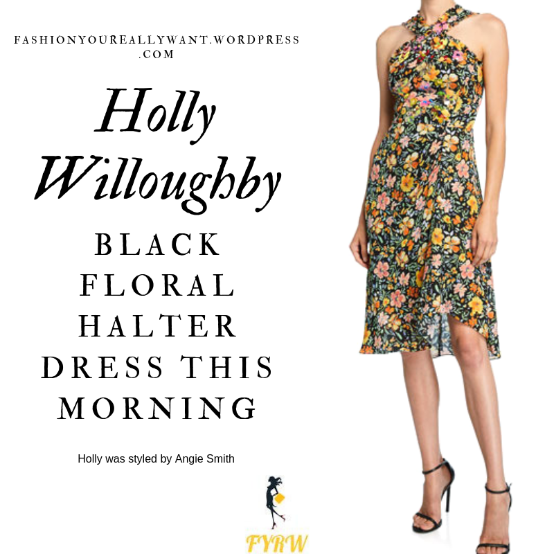 How to find Holly Willoughby  This Morning outfit today black floral halter neck dress black strappy sandals blog July 2019
