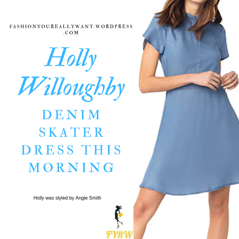 How to find Holly Willoughby  This Morning outfit today blue denim skater dress nude suede sandals blog July 2019