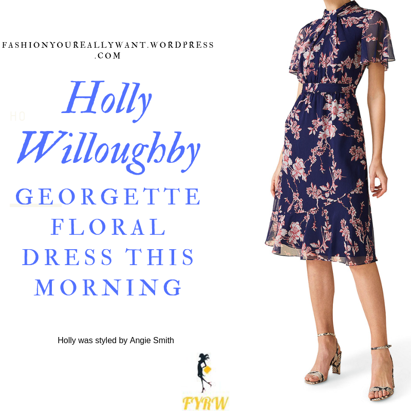 How to find Holly Willoughby  This Morning outfit today Navy georgette pink floral dress pink suede sandals blog July 2019