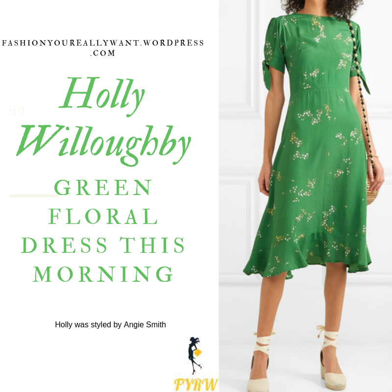 Willoughby  This Morning outfit today green and white floral short sleeve midi dress nude suede sandals blog July 2019