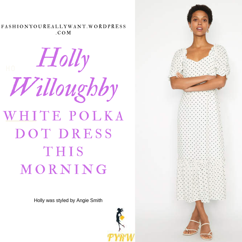 How to Find Holly Willoughby  This Morning outfit today White Polka Dot Dress puff sleeves black sandals blog July 2019