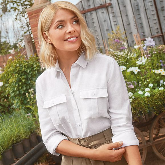 how to find holly willoughby M&;S Holly Loves Utility collection white linen shirt tan shorts Photo M&S