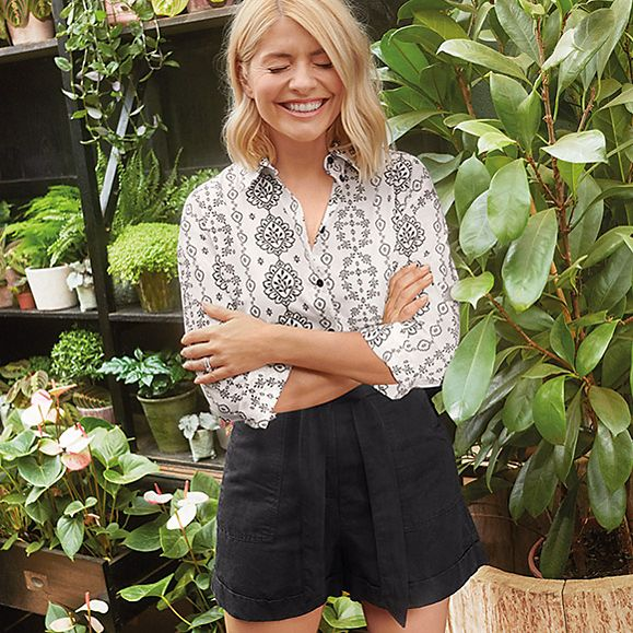 how to find holly willoughby M&;S Holly Loves Utility collection white printed shirt black shorts Photo M&S