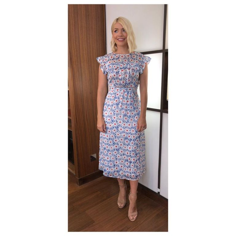How to find Holly Willoughby This Morning outfit today blue daisy print dress nude suede court shoes July 2019 Photo Holly Willoughby