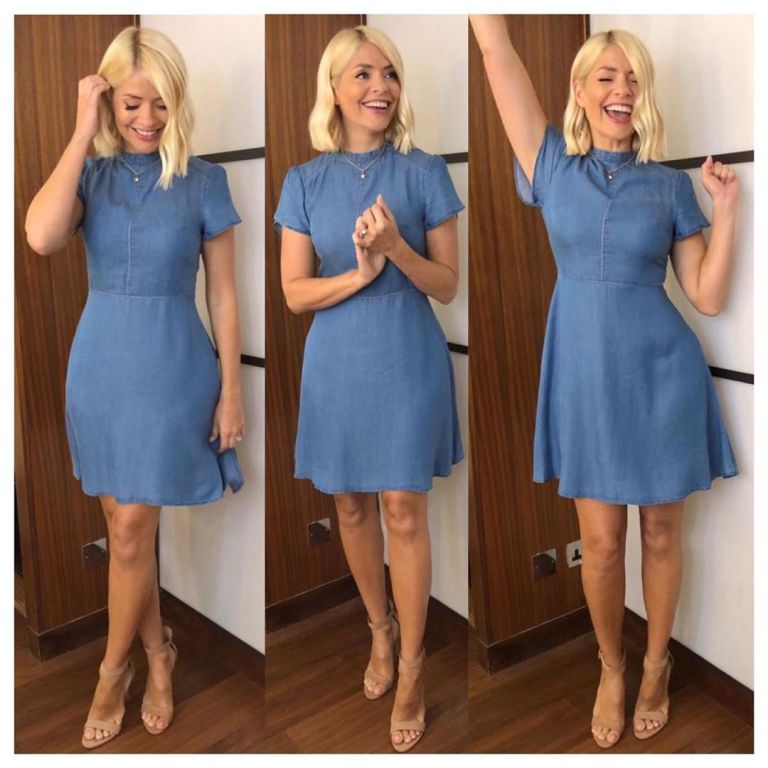 how to find Holly Willoughby This Morning outfit today blue denim skater dress nude suede court shoes July 2019 Photo Holly Willoughby
