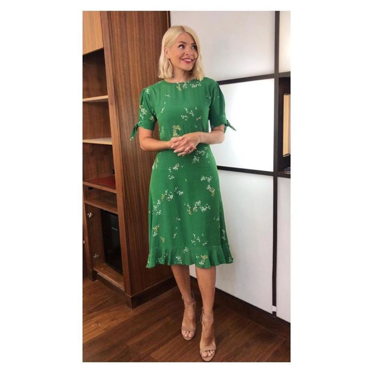 How to find Holly Willoughby This Morning outfit today green and white floral midi dress nude suede sandals July 2019 Photo Holly Willoughby