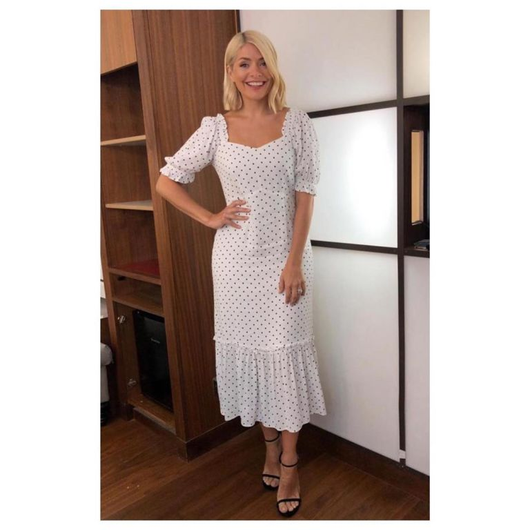 How to find Holly Willoughby This Morning outfit today white polka dot dress black sandals July 2019 Photo Holly Willoughby