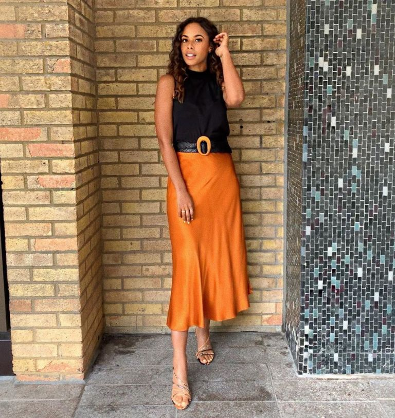 how to find Rochelle Humes This Morning outfit today orange silky skirt black sleeveless top strappy sandals July 2019 Photo Rochelle Humes