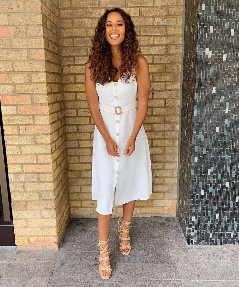 how to find Rochelle Humes This Morning outfit today white button midi dress nude strappy sandals July 2019 Photo Rochelle Humes