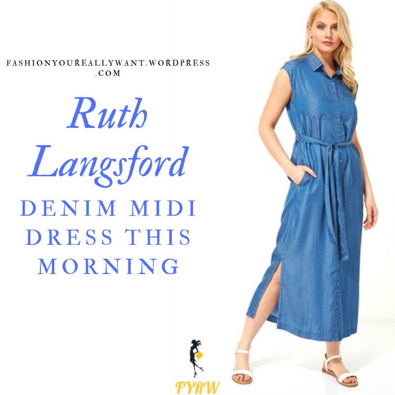 How to find Ruth Langsford  This Morning outfit today sleeveless blue denim button midi dress blog July 2019