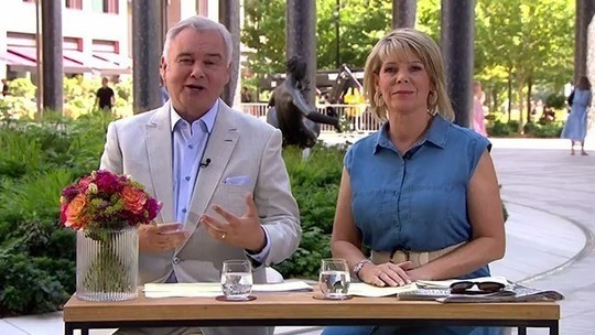 How to Find Ruth Langsford This Morning outfit today blue denim sleeveless midi dress July 2019 Photo ITV com