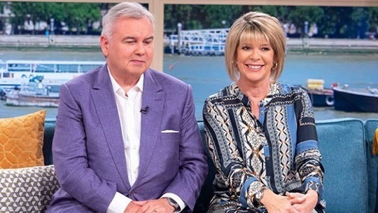 How to find Ruth Langsford This Morning outfit today blue grey scarf print tunic stone trousers July 2019 photo ITV com