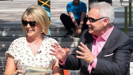 How to find Ruth Langsford This Morning outfit today white cherry print midi dress July 2019 photo ITV com