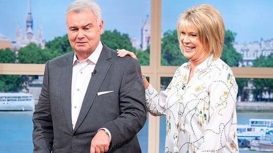 how to find Ruth Langsford This Morning outfit today white rope print blouse black trousers suede court shoes July 2019 Photo ITV com