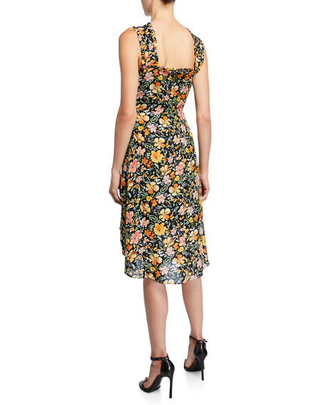 Kobi Halperin Steph Floral Silk Halter Dress back view