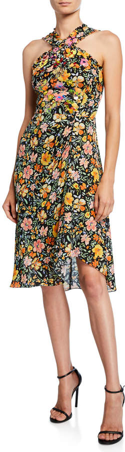 Kobi Halperin Steph Floral Silk Halter Dress