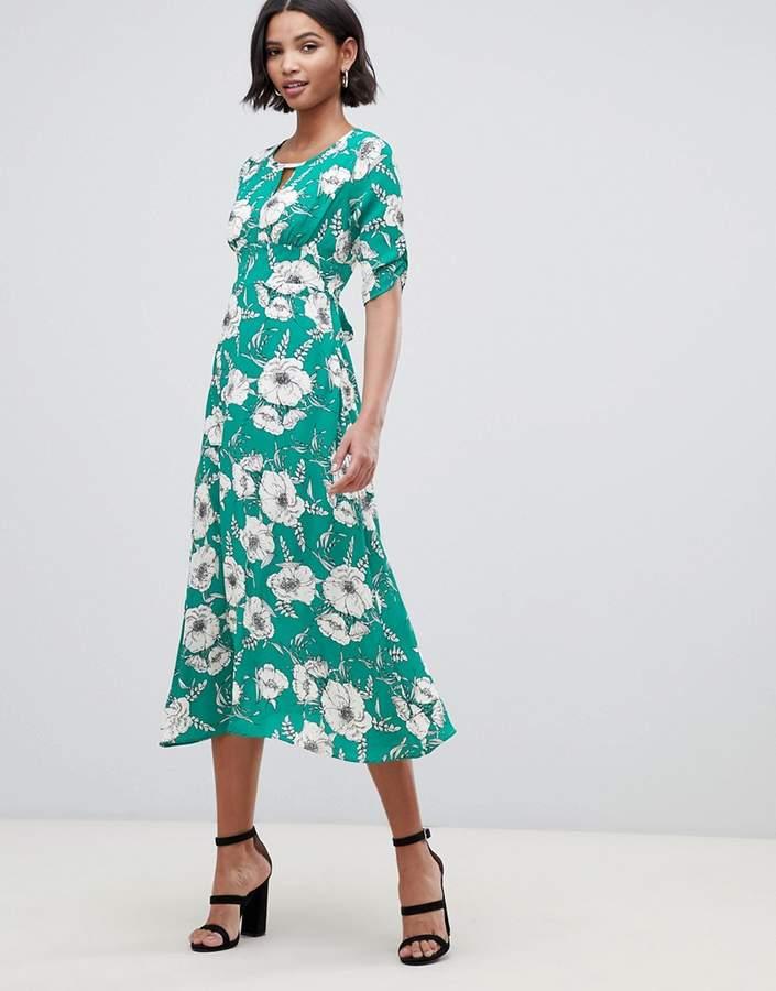 Liquorish a-line midi dress with keyhole
