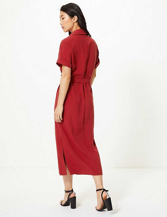 M&S Collection Crepe Tie Front Maxi Shirt Dress back view