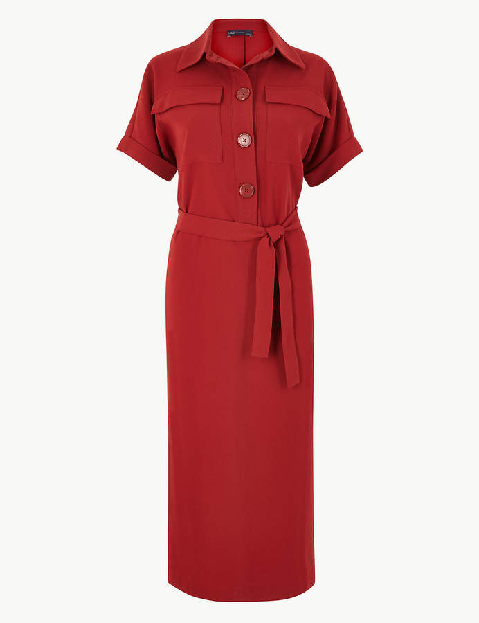M&S Collection Crepe Tie Front Maxi Shirt Dress v2