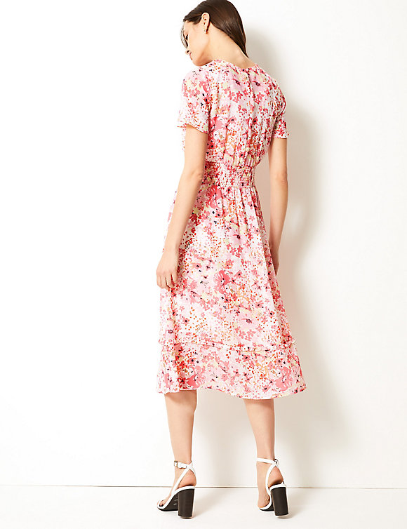 M&S Collection Floral Print Waisted Midi Dress back view