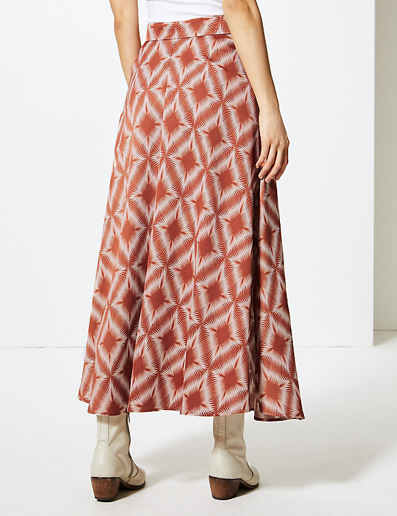 M&S Collection Marks and Spencer Diamond Print Button Detailed A-Line Maxi Skirt back view